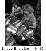 #19185 Photo of Two Women Working War Jobs While Inspecting Piston Heads in a Factory by JVPD
