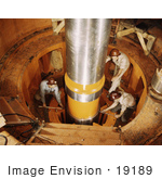 #19189 Photo Of Workers Checking The Alignment Of A Turbine Shaft At Watts Bar Dam
