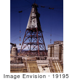#19195 Photo Of A Construction Tower At The Shasta Dam Redding California 1942