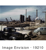#19210 Photo of Cars Near a Steel Mill Under Construction, Geneva, Utah, 1942 by JVPD