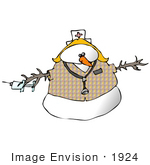 #1924 Clipart Ilustration Of A Nurse Snow Woman Wearing A Hat And Stethoscope