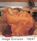 #19247 Picture of a Woman Sleeping in an Orange Gown Flaming June by Frederic Lord Leighton by JVPD