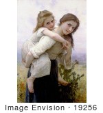 #19256 Photo of a Girl Carrying Her Little Sister on Her Back, Not Too Much To Carry by William-Adolphe Bouguereau by JVPD