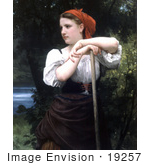 #19257 Photo Of A Girl Raking Hay The Haymaker By William-Adolphe Bouguereau