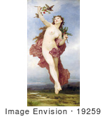#19259 Photo Of A Nude Woman Holding Branches With Berries Feeding Birds Day By William-Adolphe Bouguereau