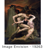 #19263 Photo Of Men Fighting Dante And Virgil In Hell By William-Adolphe Bouguereau