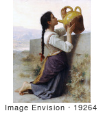 #19264 Photo of a Woman Kneeling by a Wall, Drinking Water From a Jar, by William-Adolphe Bouguereau by JVPD