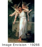 #19266 Photo of Cherubs With a Beautiful Young Woman, Youth by William-Adolphe Bouguereau by JVPD