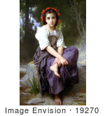 #19270 Photo Of A Little Girl With Flowers In Her Hair Seated By A Stream At The Edge Of The Brook By William-Adolphe Bouguereau