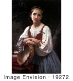 #19272 Photo Of A Girl Leaning On A Tambourine Instrument Gypsy Girl With A Basque Drum By William-Adolphe Bouguereau