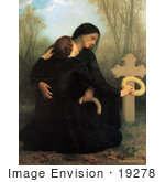 #19278 Photo of Two Women, One a Widow, Crouching at a Grave, the Day of the Dead by William-Adolphe Bouguereau by JVPD