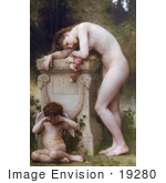 #19280 Photo Of A Woman With Cupid Mourning The Loss Of Her Lover Elegy By William-Adolphe Bouguereau