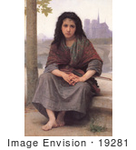 #19281 Photo Of A Girl With A Violin The Bohemian By William-Adolphe Bouguereau