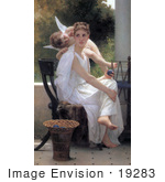 #19283 Photo Of A Woman With Yarn And A Cherub Work Interrupted By William-Adolphe Bouguereau