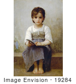 #19284 Photo of a Little Girl With an Open Book, the Difficult Lesson by William-Adolphe Bouguereau by JVPD