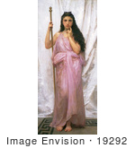 #19292 Photo of a Woman Holding a Staff, Young Priestess, by William-Adolphe Bouguereau by JVPD