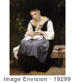 #19299 Photo Of A Woman Sewing While Sitting On A Bench Young Worker By William-Adolphe Bouguereau