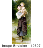 #19307 Photo Of A Girl Holding Her Brother Brother And Sister By William-Adolphe Bouguereau