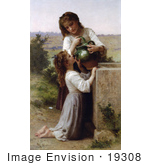 #19308 Photo of a Girl Helping Her Sister Drink Water From a Jar, At the Fountain, by William-Adolphe Bouguereau by JVPD