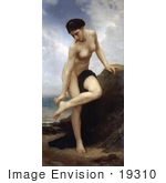 #19310 Photo Of A Nude Woman Leaning On A Rock After The Bath By William-Adolphe Bouguereau