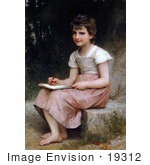 #19312 Photo Of A Little Girl Writing In A Journal A Calling By William-Adolphe Bouguereau