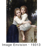 #19313 Photo Of Two Sisters Hugging On A Stone Wall By William-Adolphe Bouguereau