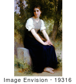 #19316 Photo Of A Young Woman Sitting On A Stone Slab The Song Of The Nightingale By William-Adolphe Bouguereau