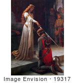 #19317 Photo of a Long Haired Maiden Holding a Sword Over a Man During a Knighting Ceremony, The Accolade by Edmund Blair Leighton by JVPD