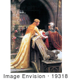 #19318 Photo Of A Long Haired Maiden Wishing Luck To A Knight On A Horse God Speed By Edmund Blair Leighton