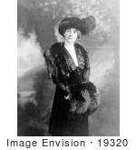 #19320 Photo Of A Woman Florence H Marshall Wearing A Plumed Hat And A Fur Muff