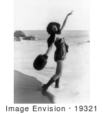 #19321 Photo Of A Woman Alice Maison In A Hat Boots Muff And Swimsuit On The Beach In 1918