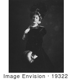#19322 Photo Of A Woman In A Plumed Hat Standing With Her Hands In A Muff 1900
