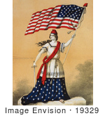 #19329 Photo Of A Woman Portrayed As Lady Liberty Holding A Sword And American Flag