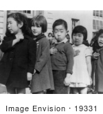 #19331 Photo Of Japanese American Children Pledging Allegience To The American Flag