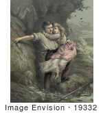 #19332 Photo of a Man Rescuing a Girl, Possibly His Daugher, From a Shipwreck in a Stormy Sea, c 1878 by JVPD