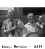 #19336 Photo Of Men With Their Hats Over Their Chests During The Pledge Of Allegience