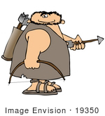 #19350 Caveman With A Bow And Arrows Clipart