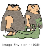 #19351 Caveman And Cave Woman Walking Their Pet Dinosaurs On Leashes Clipart