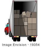 #19354 Boxes Stacked in a Delivery Truck Clipart by DJArt