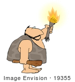 #19355 Caveman Holding A Lit Torch And Wooden Club Weapon Clipart