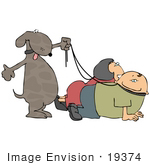 #19374 Dog Walking Its Owners On Leashes Clipart