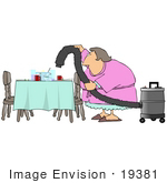 #19381 Lazy Housewife Using A Shop Vac To Suck Up The Dishes And Leftovers Off Of A Dinner Table Clipart