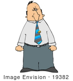 #19382 Mad Business Man Holding His Clenched Fists At His Side Clipart