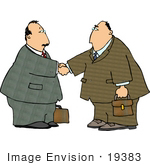 #19383 Two Business Men Shaking Hands Upon Agreement Of A Deal Clipart