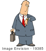 #19385 Business Man Carrying A Briefcase And Checking His Watch For The Time Clipart