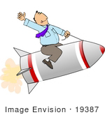 #19387 Business Man Riding a Rocket and Waving While on the Fast Track to Success Clipart by DJArt