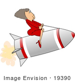 #19390 Business Woman Riding a Rocket While on the Fast Track to Success Clipart by DJArt