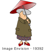 #19392 Senior Woman Walking Outdoors Under A Red Umbrella Clipart