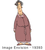 #19393 Woman In A Robe Her Hair In Curlers Clipart