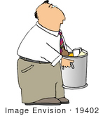 #19402 Business Man Taking Out The Garbage On Trash Day Clipart